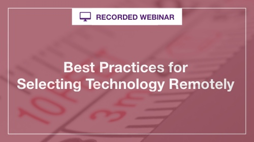 Remote Technology Selection Webinar